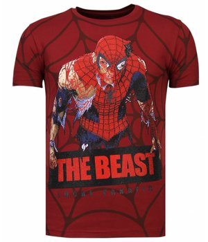 Local Fanatic The Beast Spider - Rhinestone T-shirt - Bordeaux