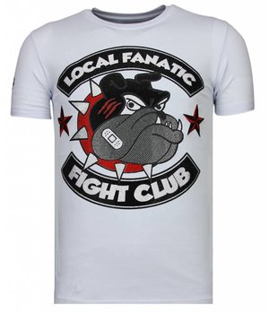 Local Fanatic Fight Club Spike - Rhinestone T-shirt - Wit
