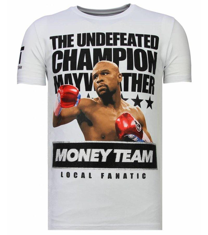 Local Fanatic Money Team Champ - Rhinestone T-shirt - Wit