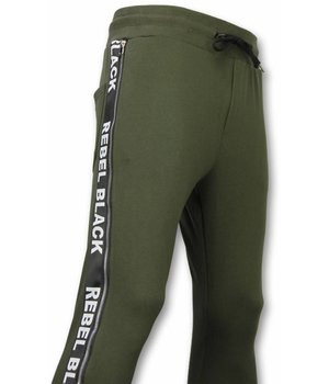 Enos Casual Joggingbroek - Rebel Black - Khaki