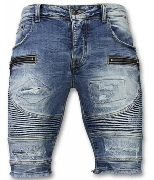 Enos Korte Broeken Heren - Slim Fit Ripped Biker Shorts - Blauw