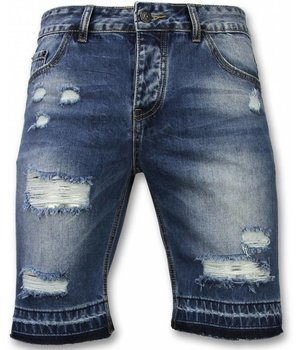 Enos Korte Broeken Heren - Slim Fit Ripped Shorts - Blauw
