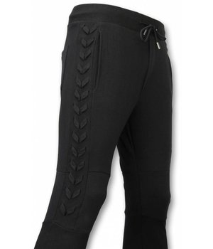 Enos Casual Joggingbroek - Braided Joggingbroek - Zwart