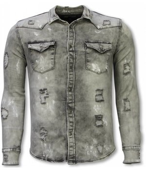 Diele & Co Denim Shirt - Slim Fit Damaged Allover - Grijs