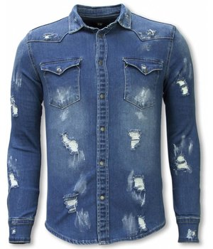 Diele & Co Denim Shirt - Slim Fit Damaged Allover - Blauw