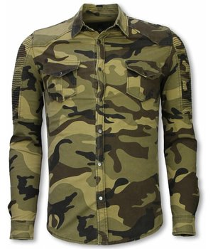 Diele & Co Biker Denim Shirt - Slim Fit Ribbel Camouflage - Groen