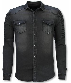Diele & Co Biker Denim Shirt - Slim Fit Ribbel Stonewashed - Grijs