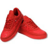 Cash Money Heren Schoenen - Heren Sneaker Low Camouflage Side - Army Full Red