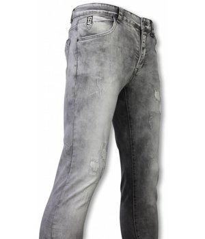 New Stone Exclusieve Jeans - Slim Fit Damaged Premium Jeans - Grijs