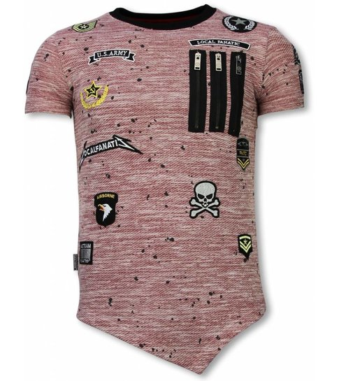 Local Fanatic Longfit Asymmetric Embroidery - T-Shirt Patches - US Army - Roze