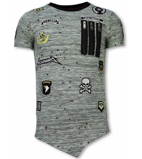 Local Fanatic Longfit Asymmetric Embroidery - T-Shirt Patches - US Army - Groen