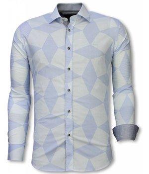 Gentile Bellini Italiaanse Overhemden - Slim Fit Overhemd - Blouse Line Pattern - Licht Blauw
