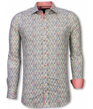 Gentile Bellini Italiaanse Overhemden - Slim Fit Overhemd - Blouse Pastel Flower Pattern - Wit