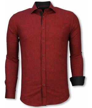 Gentile Bellini Italiaanse Overhemden - Slim Fit Overhemd - Blouse Paisley Pattern - Bordeaux