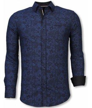 Gentile Bellini Italiaanse Overhemden - Slim Fit Overhemd - Blouse Paisley Pattern - Blauw