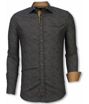 Gentile Bellini Italiaanse Overhemden - Slim Fit Overhemd - Blouse Lotus Pattern - Blauw