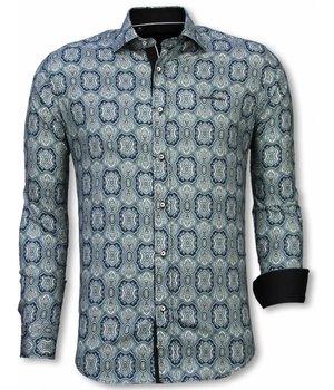 Gentile Bellini Italiaanse Overhemden - Slim Fit Overhemd - Blouse Ornament Pattern - Blauw