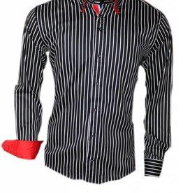 Wam Denim Italiaanse overhemden - Zwart Gestreept