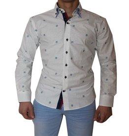Wam Denim Heren overhemd - Wit / Bedrukt