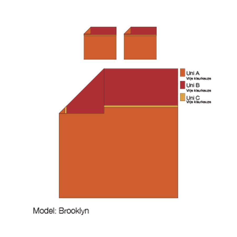 Lysdrap Dekbedovertrek Brooklyn Zand/Rood -Egyptisch katoen