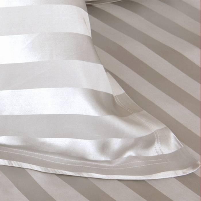 Zijden dekbedovertrek Stripes Ivoor gratis service set