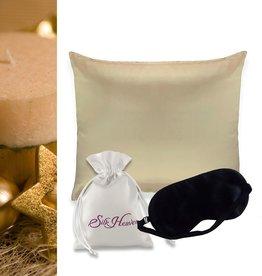 Silk Heaven Cadeau set: Zijden kussensloop & slaapmasker - Champagne