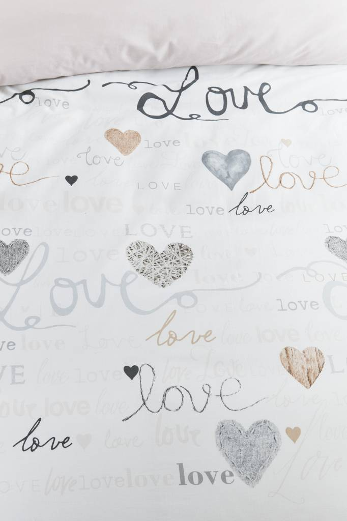 Ariadne At Home Heart to heart Naturel - Dekbedovertrek