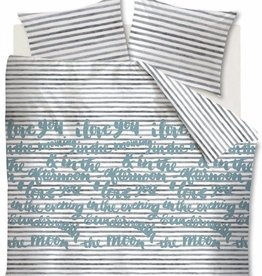 Ambiante Striped Words, Blauw Grijs - Dekbedovertrek