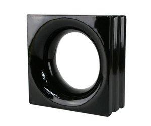 Decoblok rond zwart stuks glazen bouwstenen glasblokken