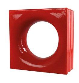 Bouwglas Decoblock rond rood 6 stuks