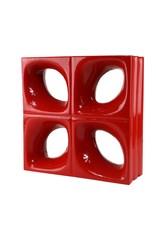 Bouwglas Decoblock Bloem rood 5 stuks