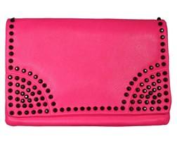 Fluor Studded Clutch - Pink