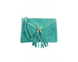 Suede Croq Clutch - Turquoise