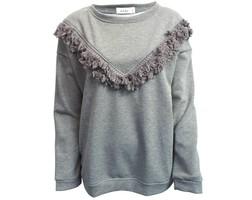 Fringe Sweater - Light Grey