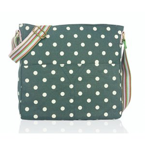 Huiskamergeluk Handtasche Cross-over Bag Canvas Dots green