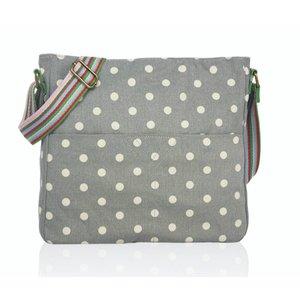 Huiskamergeluk Handbag Cross-over Canvas Dots grey