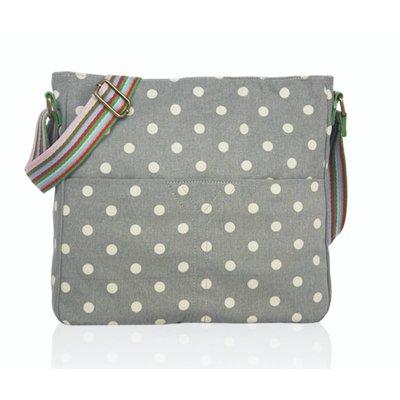 Huiskamergeluk Handtasche Cross-over Bag Canvas Dots grey