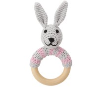 Sindibaba Rassel Hase am Holzring grey/pink