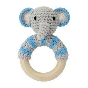 Sindibaba Rassel Elephant grey/blue am Holzring