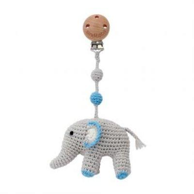 Sindibaba Kinderwagen-Clip mit Elephant grey/blue
