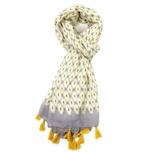 M&K Collection Scarf Geo Tassel yellow