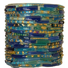 Waxinelichthouder blauw bangles