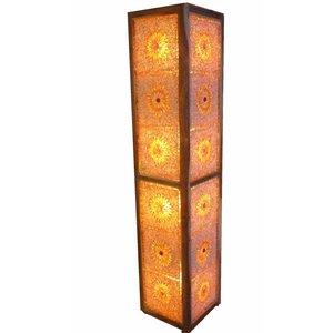 Staande vloerlamp glasmozaïek rood oranje en kralen