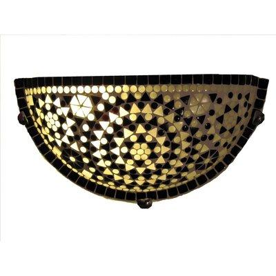 Oosterse wandlamp glasmozaïek zwart wit traditioneel design