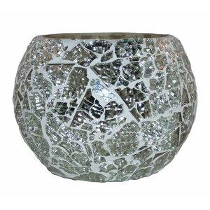 Waxinehouder mozaïek zilver craquele