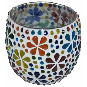 Waxinehouder mozaïek multi colour bloem rond