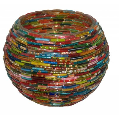 Waxinelichthouder bangles multicolor