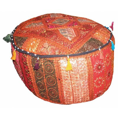 Poef oranje India,poef is handgemaakt