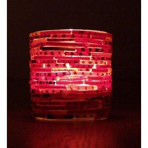Waxinelichthouder bangles medium rood