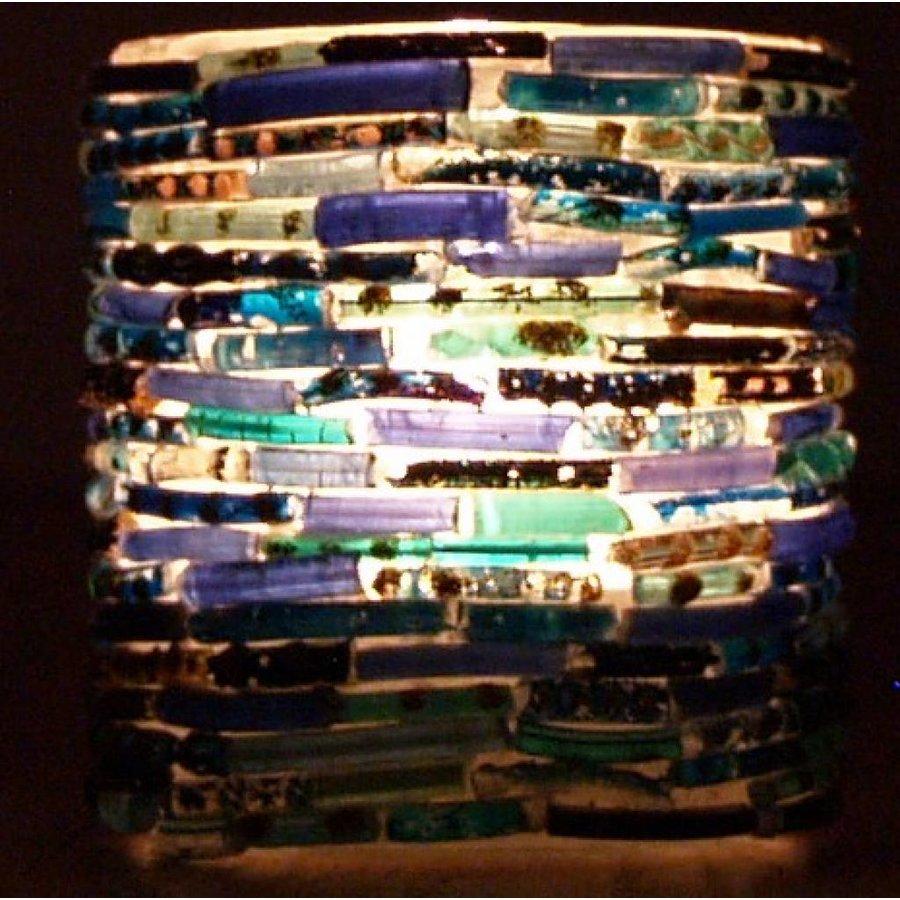 Waxinelichthouder mozaïek bangles blauw